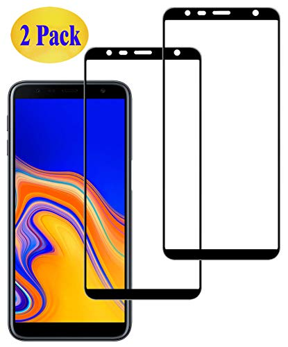 Eachy Samsung Galaxy J6 Plus/Samsung Galaxy J4 Plus Panzerglas Schutzfolie, [2 Stück] Displayschutzfolie für Samsung Galaxy J6 Plus/J4 Plus(SM-J610/SM-J415) Panzerglasfolie 6,0 Zoll-Schwarz(0,33 mm)