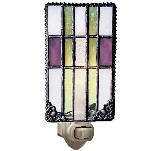 Decorative Night Light Accent Lite Wall Plug in Nightlight Bedroom Bathroom Nursery Kitchen Purple Green Stained Glass Mission Home Décor J Devlin NTL 170