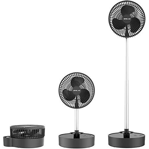 Ventilador de Pie Oscilante, Ventilador Pedestal Batería Recargable de 10000 mAh, 3 Velocidades, Ventilador Plegable Silencioso, Ventilador de Escritorio USB para Acampar en la Oficina en Casa