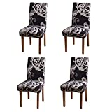 YEESSION Stretch Spandex Dining Chair Slipcovers Removable Washable Dining Room Chair Protector Cover Seat Slipcover Set of 4 (Style 10)