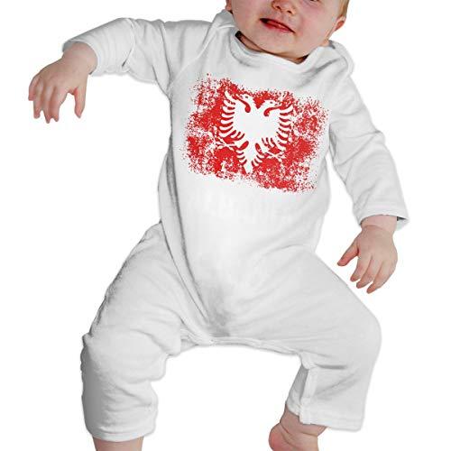 VikaTor66 Albanian Albania Flag 100% Cotton Long Sleeve Baby Bodysuit Newborn Jumpsuit Romper White