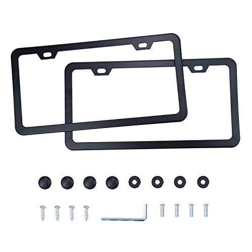 LivTee Black Aluminum License Plate Frames, 2 PCS Car Licence Plate Covers Slim Design with Black Bolts Washer Caps for US Vehicles