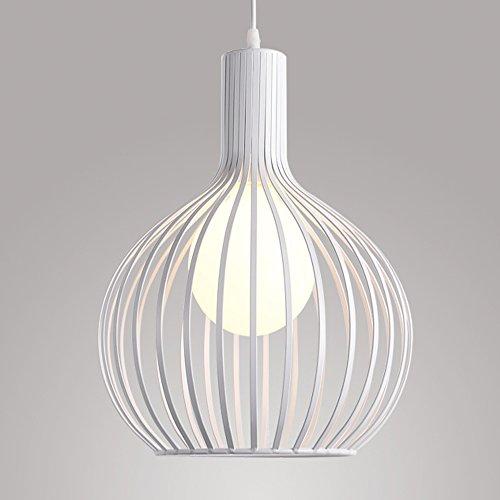Lámpara Colgante de Jaula Industrial Vintage, Lámpara de Techo Metal Retro, E27 Lámparas de Araña 20 cm (Blanco)