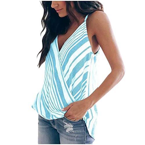 Dasongff Tank Tops Damen Sommer Oberteile Tops Sexy Cami V-Ausschnitt Ärmellose Weste Casual Striped T Shirt Bluse Hemdbluse Elegant Patchwork Tunika für Frauen