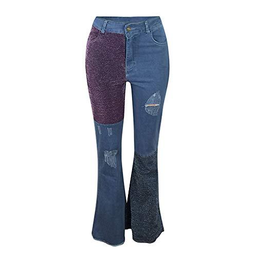 Arestory Vrouwen Gaten Jeans Dames Meisjes Rits Broek Boot Cut Pant Lady Mode Patch Rechte Broek met Pocket Winter Lente Lady Tuniek Losse Plus Size Fashion Jeans