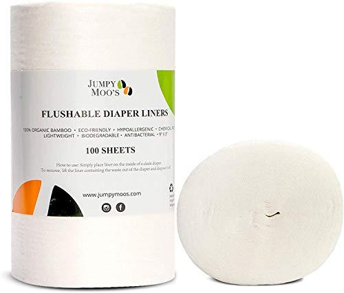 Einweg-Windeleinlagen, ohne Parfüm, biologisch abbaubar | 100% Bambus, chlorfrei & farbstofffrei, stark absorbierend | Herunterspülbar & wegwerfbar (2er Pack)