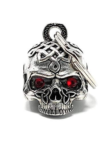 Bravo Bells Celtic Skull Diamond Bell - Biker Bell Accessory or Key Chain for Good Luck on The Road