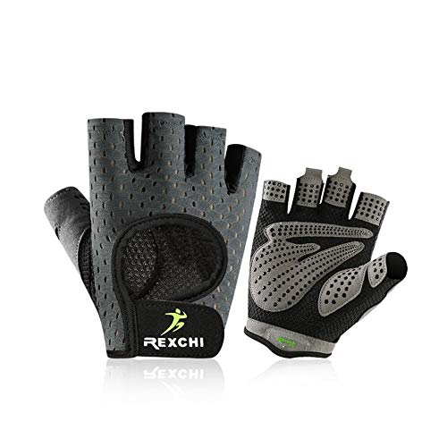 VERTAST Fitness Handschuhe Herren Damen Halbfinger Sporthandschuhe Atmungsaktiv für Radsport Krafttraining Gewichtheben Bodybuilding Grau S