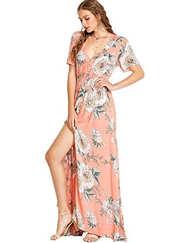 Milumia Women Floral Print Flowy Short Sleeves Button Down Split Long Maxi Dress Pink Large