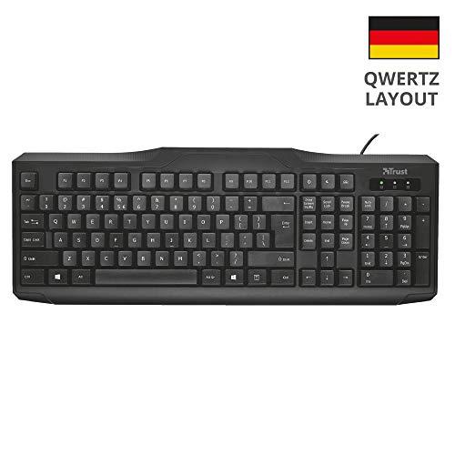 Trust ClassicLine Tastatur (spritzwassergeschützt, leiser Tastenanschlag, USB, QWERTZ, deutsches Tastaturlayout) schwarz