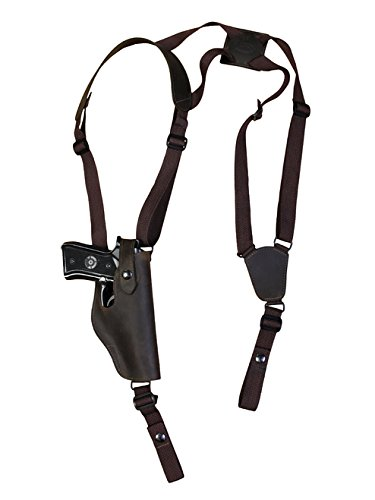 Barsony New Brown Leather Vertical Shoulder Holster for Kimber 1911 .40 .45 Right