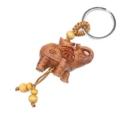 ZHANGAIGUO Llavero del Elefante De Buda, 4,5 Cm Melocotón De Madera Lucky Elephant Regalo Colgante para Alejar A Los Espíritus Malignos, Llavero De Madera Auspicioso De Elefante