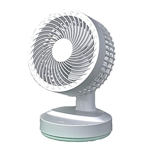 USB Ventilador De Mesa, Ventilador De Escritorio con Batería Recargable 10000 Mah 3 Velocidades del Viento Oscilante Silencio Turbo Mini Ventilador Eléctrico por Casa Cuarto Oficina (Blanco Verde)