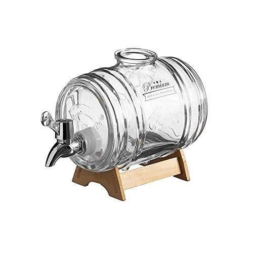 Tanque de remojo de Gran Capacidad de 1000 ml, Tanque Sellado de Vidrio, Vidrio sin Plomo, Base de Madera Maciza/tapón de Acero Inoxidable, fácil de observar, Adecuado para Vino Tinto, Vin