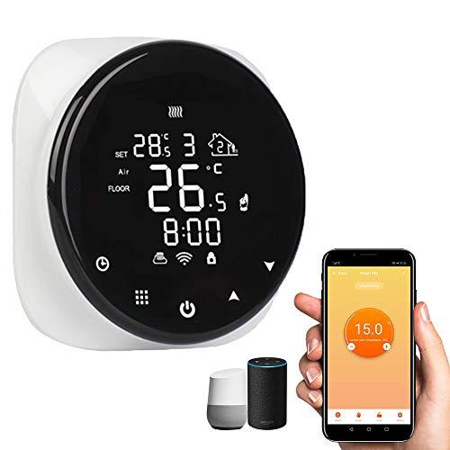 LTXDJ Termostato Inteligente para Caldera de Gas, Termostato Calefaccion WiFi, Pantalla LCD Botón táctil retroiluminado programable, Compatible con Amazon Alexa Echo Google Home