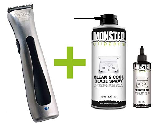Wahl Beret Trimmer Chroom + Monster Clippers Clean & Cool Blade Spray & Olie