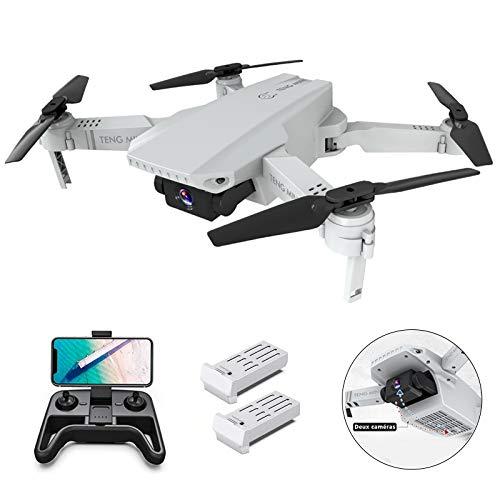 OBEST Mini Dron con Cámara 4K HD, Dual Cámara Posicionamiento de Flujo óptico, Altitude Hold, Modo sin Cabeza, Vuelo de Trayectoria, para Principiantes, 2 Baterías, Vuelo de 24-30 Minutos, Blanco
