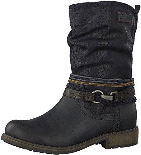 s.Oliver Damen Biker Boots 25445-21,Frauen Stiefel,Stiefelette,Halbstiefel,Bikerstiefelette,Bootie,Nieten,SoftFoamsO Decksohle,Blockabsatz 2.5cm,Navy Comb,EU 37