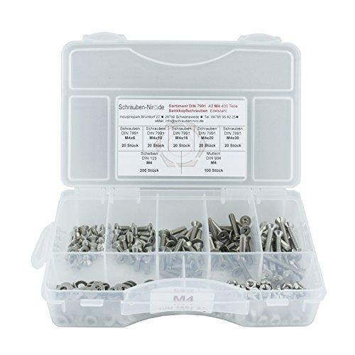 Sortiment DIN 7991 / ISO 10642 Senkkopfschrauben in der größe M4, Innensechskant, 400 Teile