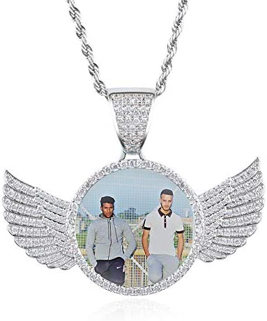YIMERAIRE Custom Your Own Photo Angel Wing Charm Pendant Necklace Jewelry Keepsake Memorial product image