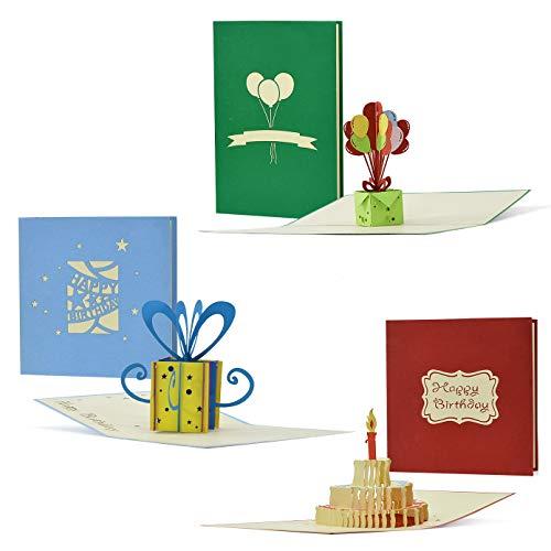 Geburtstagskarten 3er Set, Gutscheine, Glückwunsch Karten, 3D Pop-Up-Karten, Grußkarten, Geschenkkarten, Geschenk-Box, Torte mit Kerzen, Geburtstagsballons, Set 4