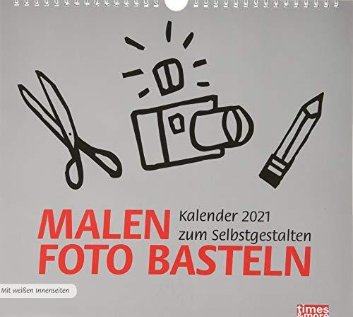 times&more Bastelkalender 2021 in silber mit weißen Innenseiten - mit Monatskalendarium und Spiralbindung - Format 30 x 27 cm