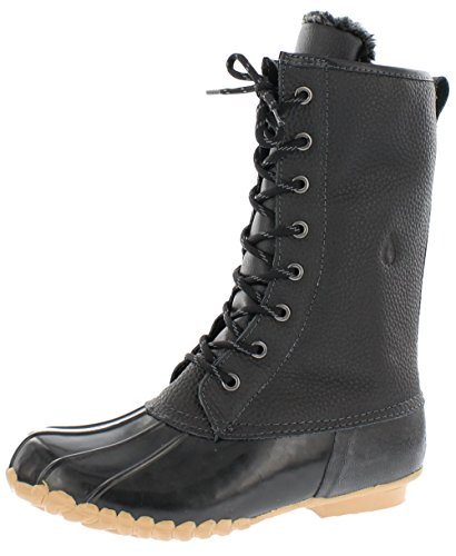 sporto Womens Duck Boots with Lace-Up Closure (Delmar) Waterproof Insulated Mid-Calf Winter Boots for Comfort, Durability - Keeps Feet Warm & Dry Black