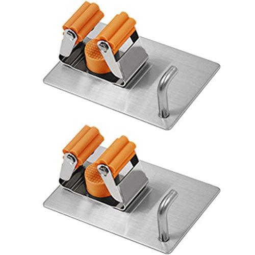 Ruiyoupin Premium gereedschaphouders, hoogwaardige bezemhouder, wandhouder, optimale opslag van huishoudelijke apparaten, tuingereedschap, oranje, 2 stuks