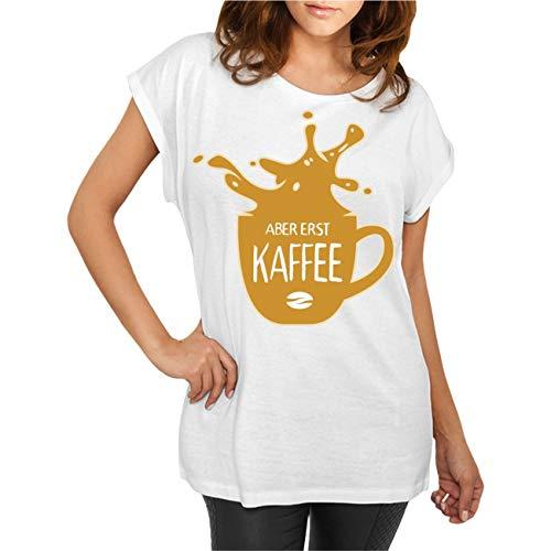 T-shirt pour femme et femme avec inscription en allemand « Mais erst Kaffee » - - XL