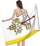 LUYIQ Mikrofaser Strandtuch,Flagge der Vatikanstadt,groß 130x80 cm,Tragbar Sand Proof Ultraleicht,Strandtuch Bunt für Männer & Frauen,Super Saugfähig Schnell Trocknend