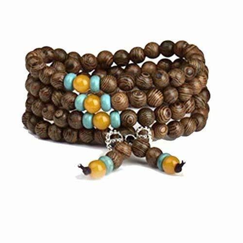 Mala-Armband mit wunderschönem Buddhismus, rund, Holz, Gebetskette, Meditation, Unisex