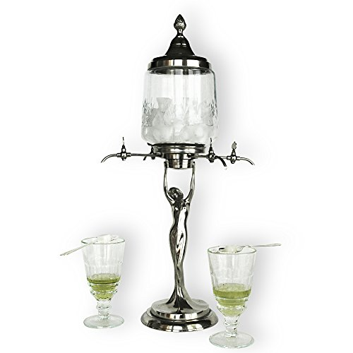 Lady Absinthe Fountain with Four Metal taps - Exact Reproduction of The Most Famous Absinthe Fountain Style