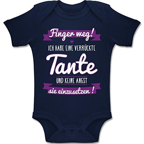 Shirtracer Sprüche Baby - Ich Habe eine verrückte Tante Lila - 1/3 Monate - Navy Blau - BZ10 - Baby Body Kurzarm für Jungen und Mädchen