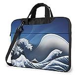 Water Resistant Laptop Shoulder Messenger Bag, Sea Great Wave Protective Notebook Messenger Briefcase Compatible with MacBook 15.6 Inch