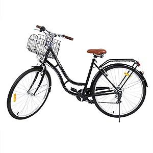 MuGuang 28 Pulgadas 7 Velocidades Señoras Ciudad Bicicleta Estilo Holandés Bicicleta Deportes al Aire Libre Ciudad Urbana Bicicleta Shopper Bicicleta Luz + Cesta + Campana + Batería-Powered Luz(Negro)