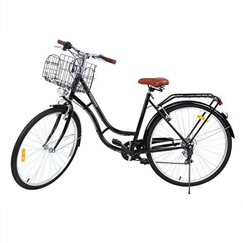 MuGuang 28 Zoll 7 Stadtrad Damen Männlich Fahrrad Damenfahrrad Outdoor Sportstadt Urban Fahrrad Shopper Fahrrad (Schwarz)