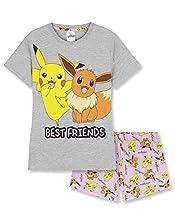Pokemon Pijama Niña Verano, Pijama de Verano para Niña, Ropa Niña de Verano con Eevee y Pikachu para Niñas y Adolescentes de 5 a 14 Años (Gris, 13-14 años)