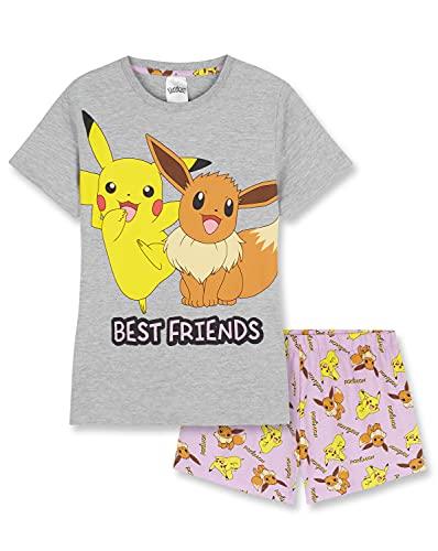 Pokemon Pyjama Fille - Pyjama Short Fille 5-14 Ans - Idée Cadeau Meilleure Amie - Pikachu Evoli (Gris, 9-10 Ans)