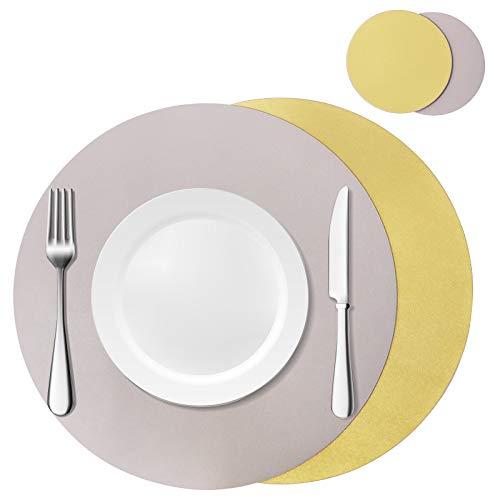 Olrla Juego de Posavasos y tapetes Redondos de Cuero sintético de Doble Cara, 2 manteles Individuales y 2 Posavasos, tapetes de Comedor para reuniones de Fiesta (Gris Claro + Dorado)