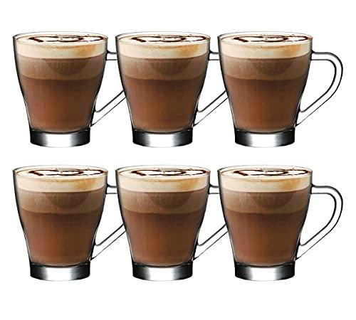 Tee-/Kaffeetasse aus Glas mit Griff, 260 ml, perfekt für Espresso, Cappuccino, heiße Schokolade, heiße Getränke, Tassimo & Dolce Gusto, einzigartiges Design, hohe Temperaturbeständigkeit, Latte-Tasse