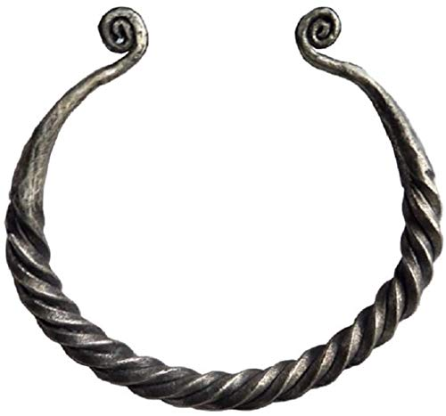 Hand Forged Iron Norse Viking Twisted Penannular Bracelet Grey