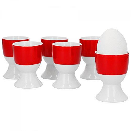 Van Well 6er Set Eierbecher Serie Vario Porzellan - Farbe wählbar, Farbe:rot