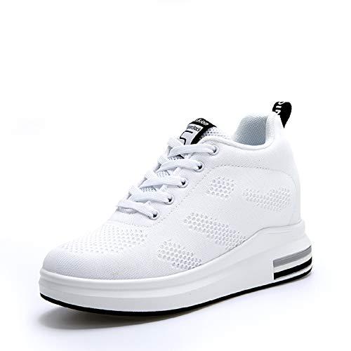 AONEGOLD® Scarpe con Zeppa Interna Donna Scarpe da Ginnastica Basse Sportive Fitness Sneakers Zeppa Interna 8CM(Bianco,40 EU)