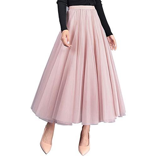 FEOYA Damen Tüllrock Weiche Tüll Petticoat A-Linie Elegant Lange Tutu Hohe Elastische Taille Midi-Rock Großer Saum Faltenrock Einheitsgröße - Rosa