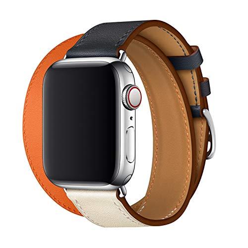 XCool für Apple Watch Armband 42mm 44mm, Leder Blau Orange Double Tour Armbänder für iwatch Series 4 Series 3 Series 2 Series 1 Hermes