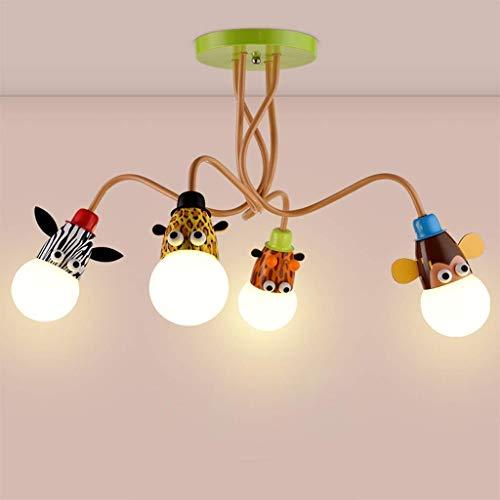 Led-cartoon plafondlamp voor dieren, creatief licht, voor tienerkamer, meisjeskamer, decoratie, verlichting voor kleuterschool 4 lights