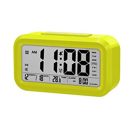 Pratende Klok Spreektijd En Temperatuur Digitale Snooze-Wekker Met Thermometer Kalenderverlichting Groen