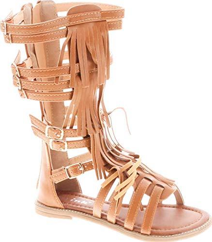 Link Savannah 3K Little Girls Strappy Buckled Fringe Gladiator Flat Sandals,Tan,2