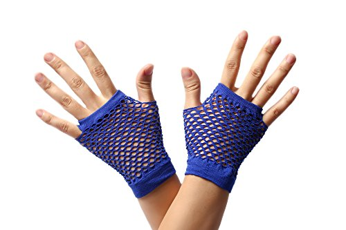 dressmeup DRESS ME UP - RH-005-blue guantes de red azules sin dedos cortos los años 80 punk rockero wave gótico emo