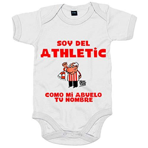 Body bebé soy del Athletic de Bilbao como mi abuelo personalizable con nombre - Blanco, 6-12 meses